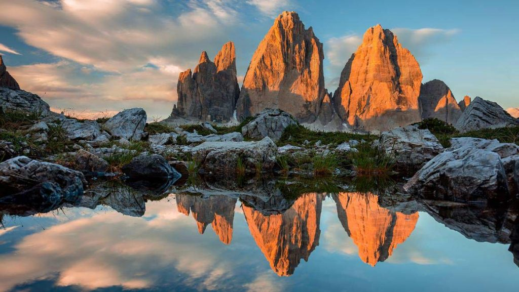 The three pinnacles in the Dolomites