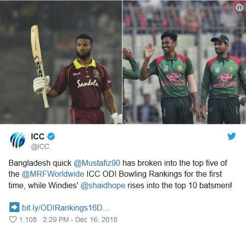ICC tweet shai hope