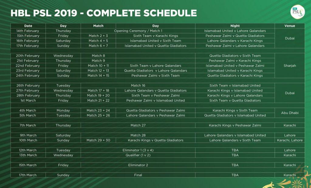 psl 4 2019 final dates