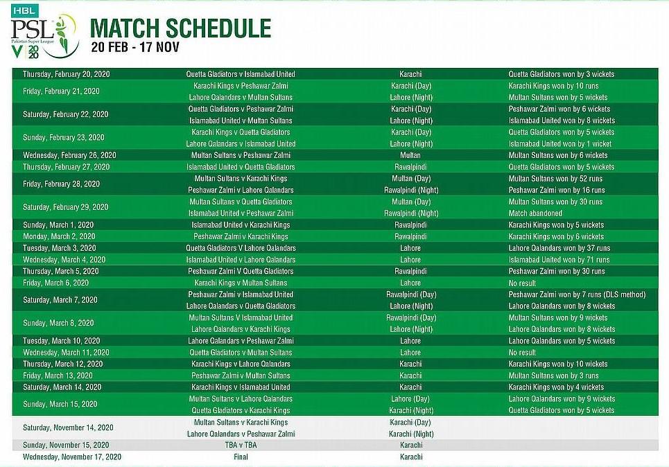 psl 2020 match schedule